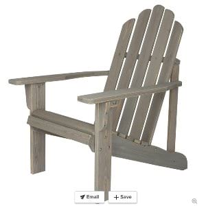 White Washed Wood Adirondack Chair