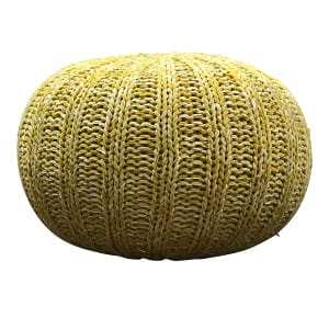 Yellow Knit Pouf