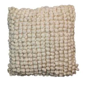 White Pom Pillow