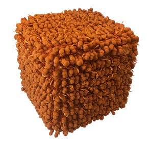 Orange Fringe Pouf