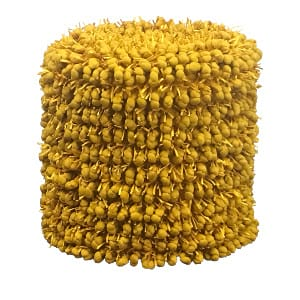 Yellow Fringe Pouf