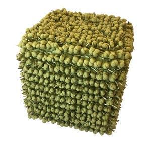 Green Fringe Pouf