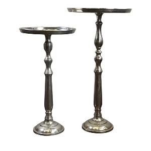 Tall Silver Pedestal Side Table