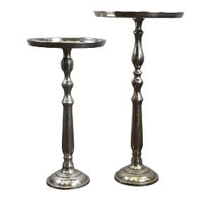 TallSilver Pedestal Side Table