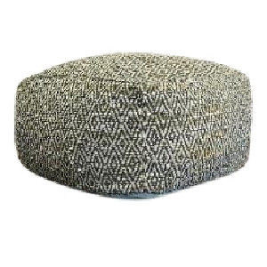 Arapahoe Charcoal Leather Pouf