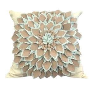 Teal and Tan Floral Pillow