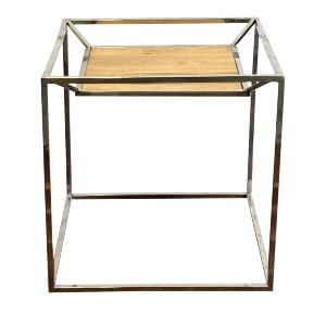Chrome Wood Top Side Table