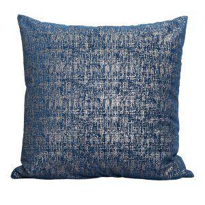 Navy Silver Scratch Pillow