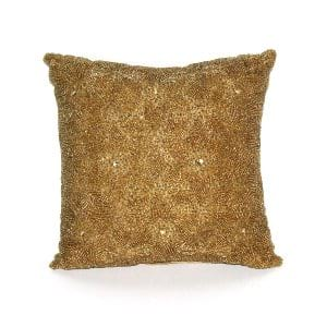 Antique Gold Beaded Pillow