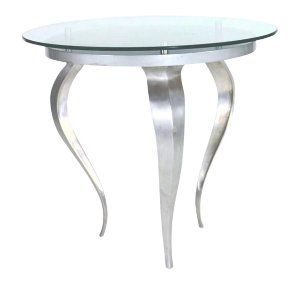 Silver Round Glass Accent Table