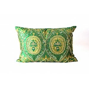 Green & Gold Beaded Lux Pillow