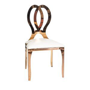 Rose Gold Metal Chair with White Chair Pad