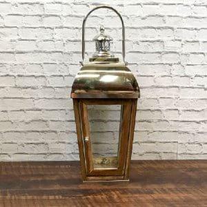 Hamptons Chrome & Wood Lantern