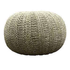 Grey Knit Pouf