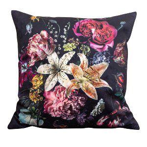 Black Flower Painting Pillow