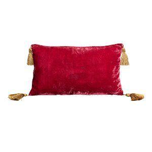 Red Velvet Lumbar w/Tassle Pillow