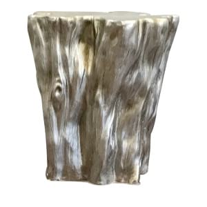 Stump Silver Leaf Side Table