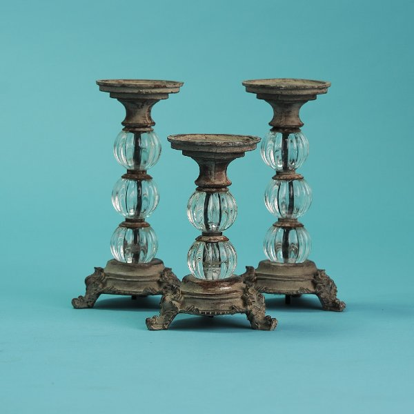 Brown/Crystal Candlestick Set of 3