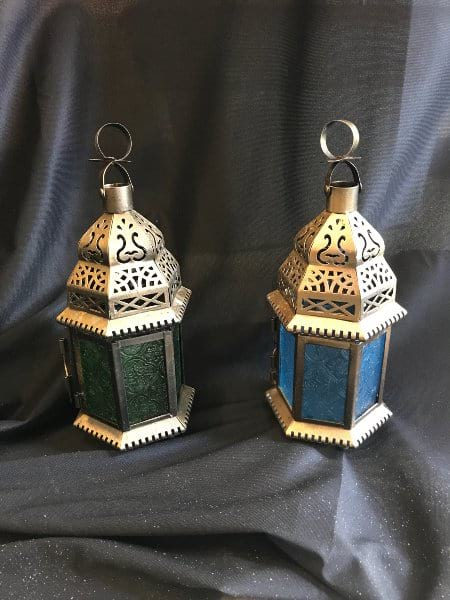 Gold small lantern - blue or green