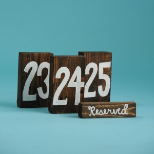 Square Brown Wooden Block – White Font