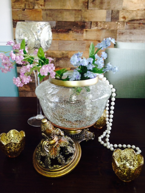 Gold Trim and Glass Centerpiece