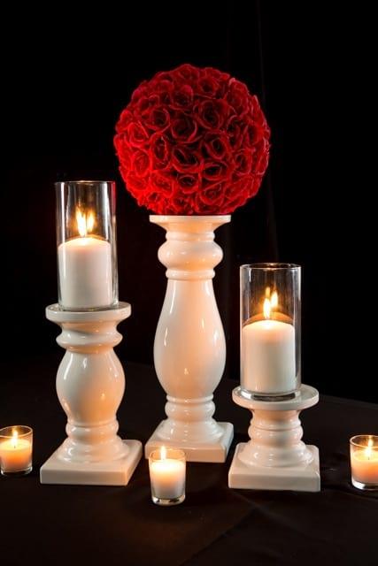 Set of 3 White Candlestick
