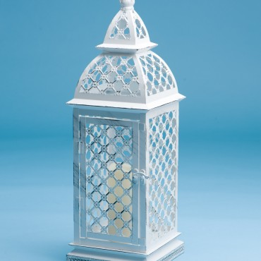 White Lattice LED Lantern