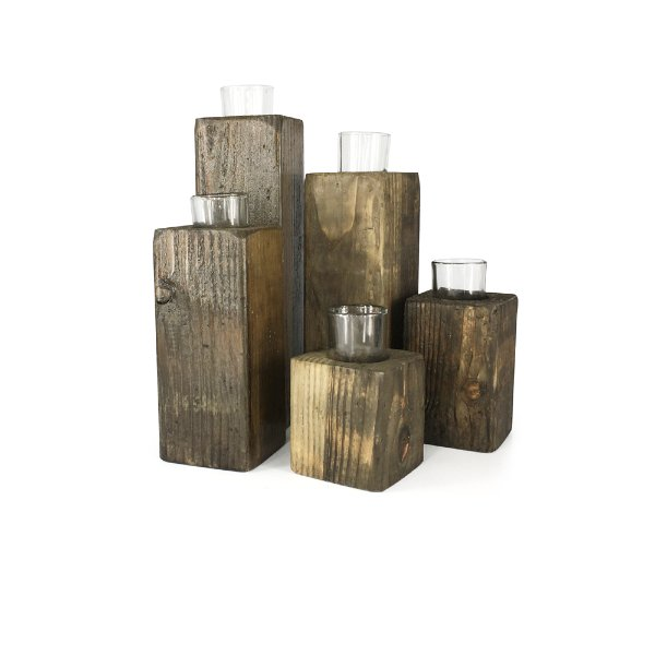 Rustic Wood Block Candles