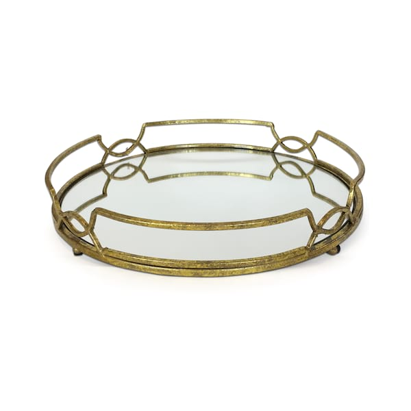 Geometric Gold Mirror Tray