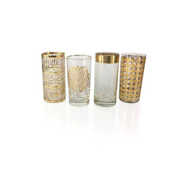 Vintage Gold Highball Glassware