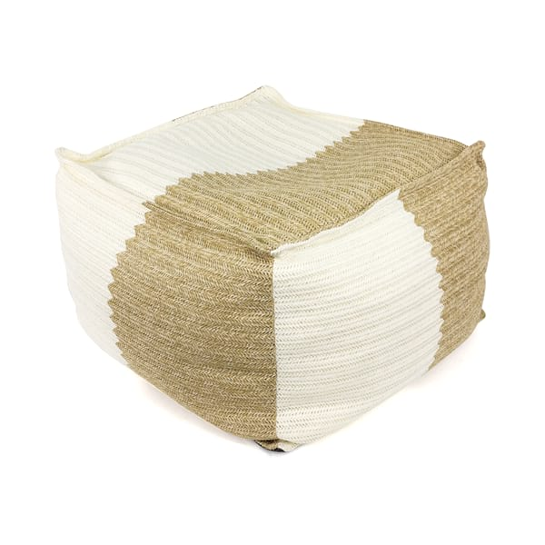 Natural Raffia Floor Pouf