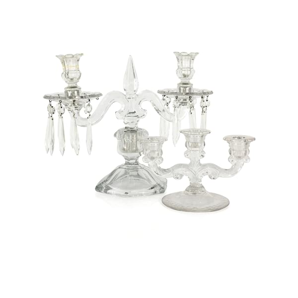 Clear Glass Candelabra's