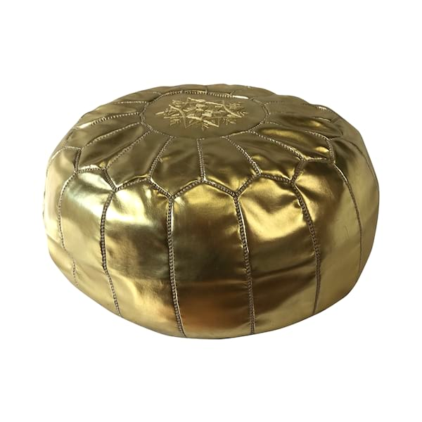 Morrocan Gold Leather Pouf