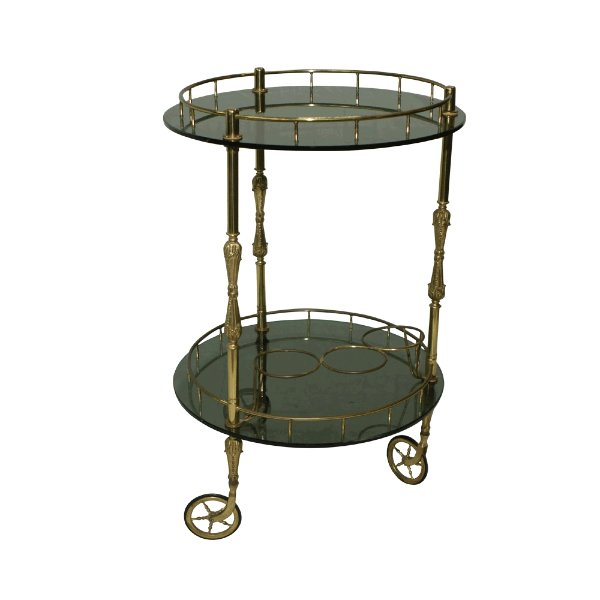 Round Brass Bar Cart