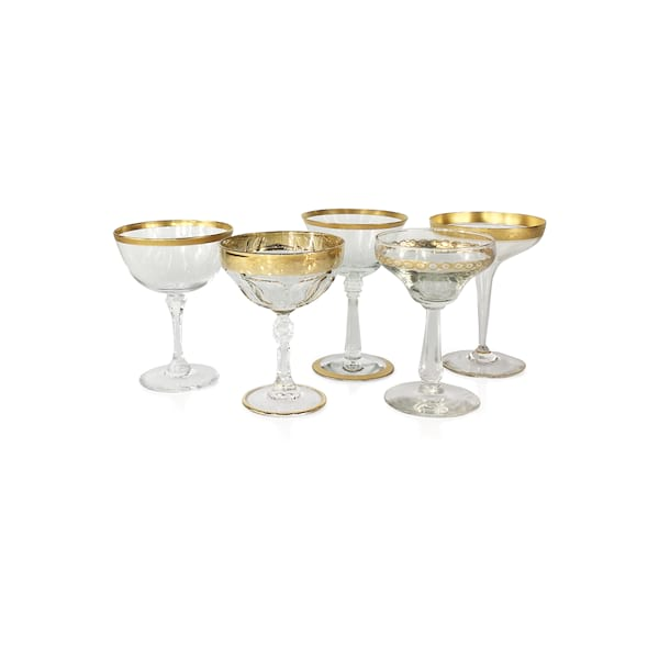 Gold Rim Champagne Coupes