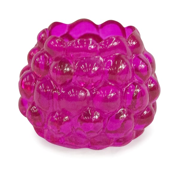 Hot Pink Bubble Glass Votive
