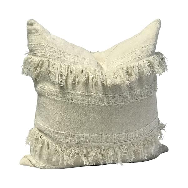 Neutral Linen Fringe Pillow