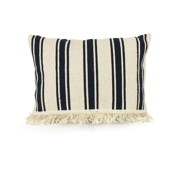 Navy Stripe Canvas//Fringe