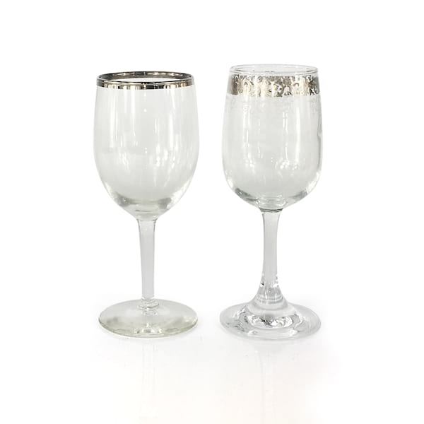 Silver Rim Wine Glasses