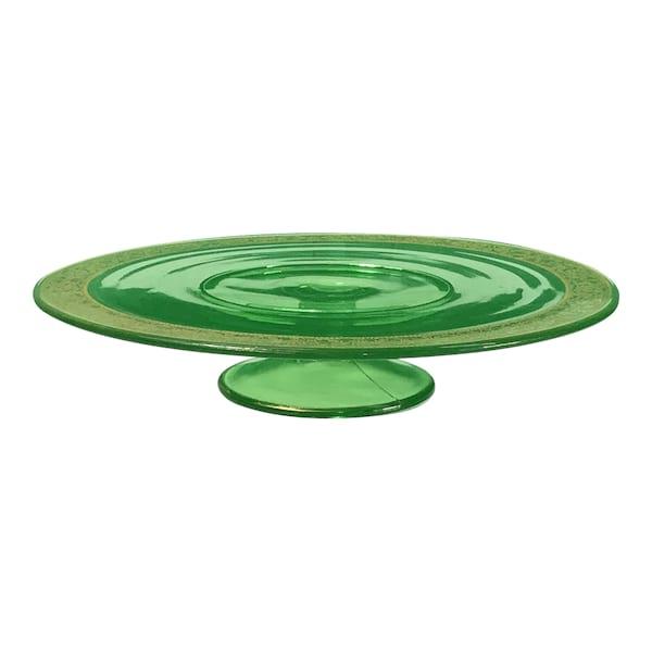 Green Glass w/Gold Rim