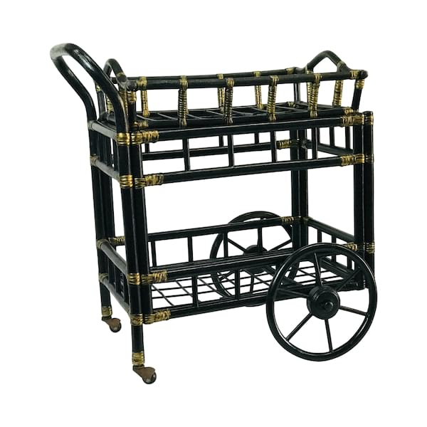 Black Bamboo Bar Cart