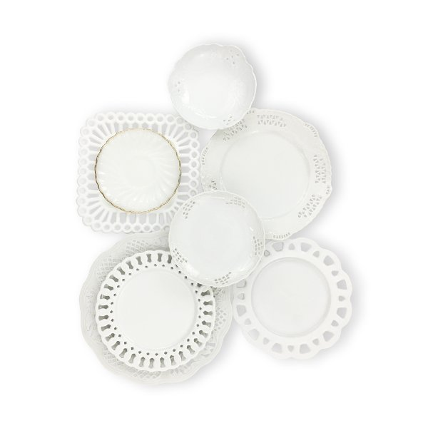 White Ceramic & Milk Glass