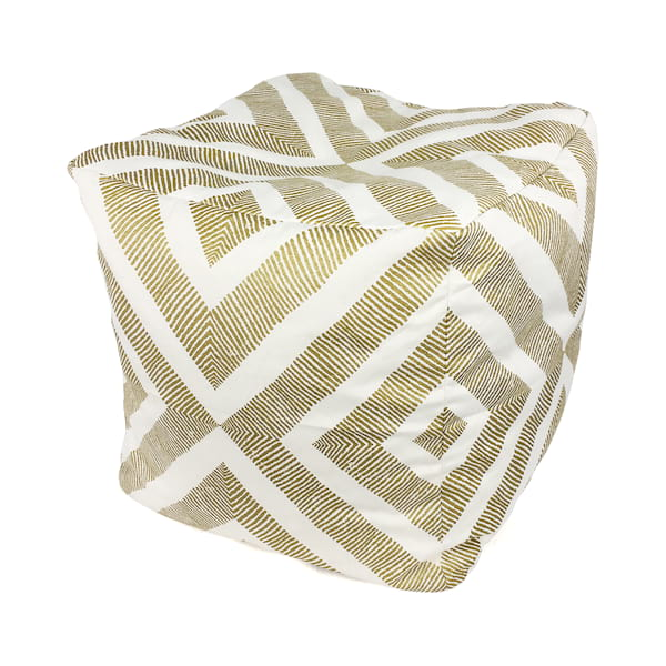 Gold//White Floor Pouf