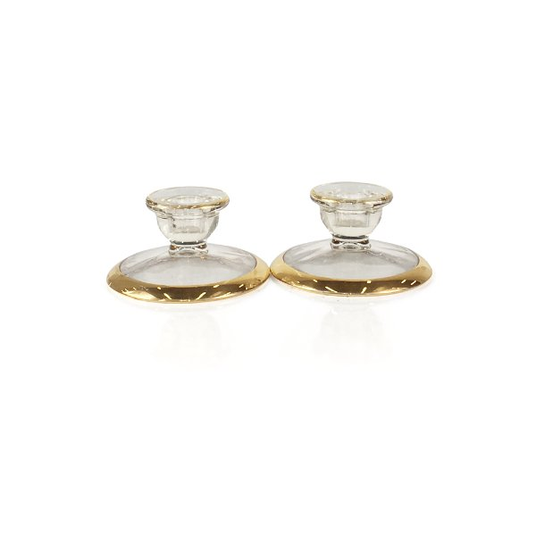 Clear/Gold Taper Candle Holder