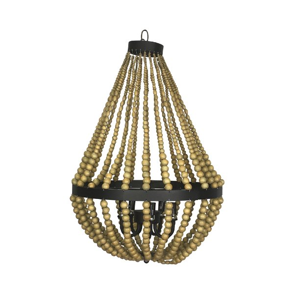 Wood Bead Hanging Chandelier