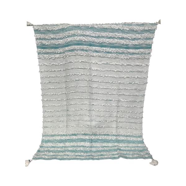 Aqua/White Textured Tassle Throw