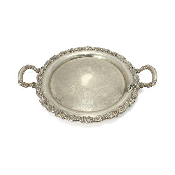 Ornate Round Silver Tray