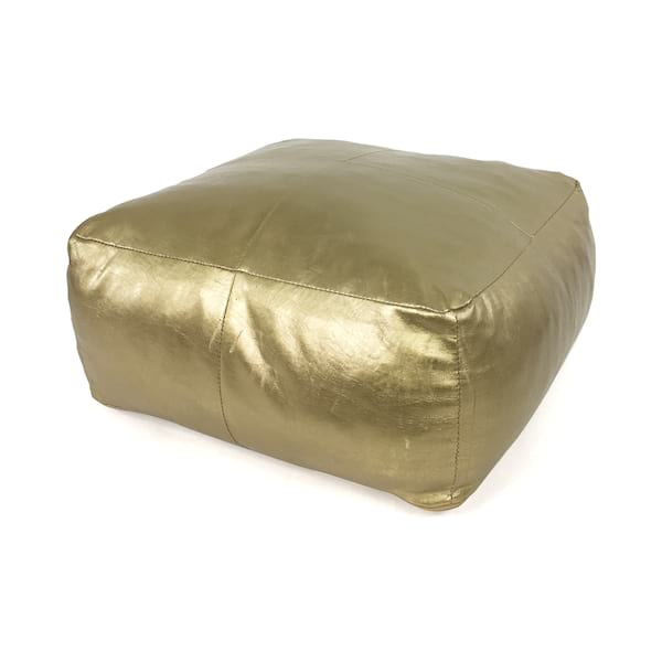 Gold Leather Pouf