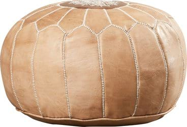 Morrocan Pale Blush Leather Pouf