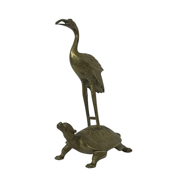 Brass Stork on a Turtle